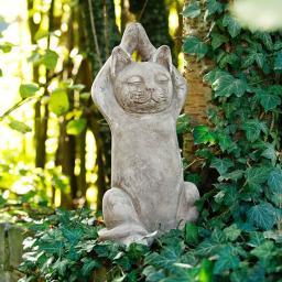 Gartenfigur Buddha-Katze Sushi