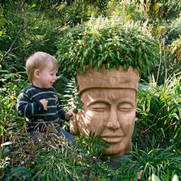Terracotta-Pflanzgefäß Buddha-Kopf
