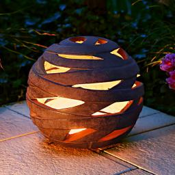 Windlicht Terracotta-Kugel Saturn, groß