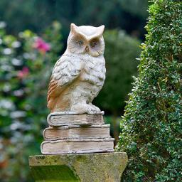 Gartenfigur Eule Athene mit Büchern