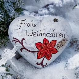Keramik-Herz Frohe Weihnachten