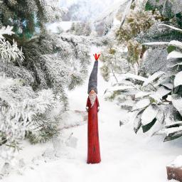 Zipfel-Weihnachtsmann, 37x5x5 cm, Polyresin, rot grau