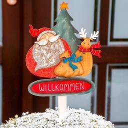 Gartenstecker Weihnachtsfreunde