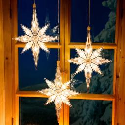 LED-Fensterdeko Winterstern, 3er-Set