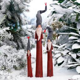 Zipfel-Weihnachtsmänner, 3er-Set, Polyresin, rot grau