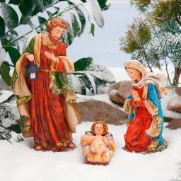 Außen-Krippenfiguren, Set Heilige Familie, Polyresin, bunt