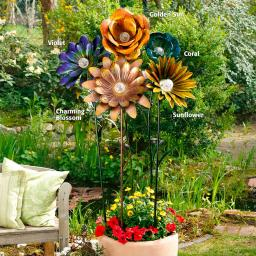 Solarblume XXL Coral Flower türkis