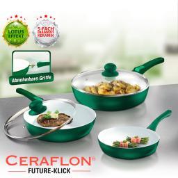 Anti-Haft-Keramik-Pfannen CERAFLON Future-Klick, 5-tlg.