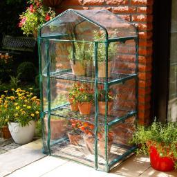 Folien-Mini Gewächshaus, L 70 cm x T 50 cm x H 126 cm, Stahl, grün lackiert