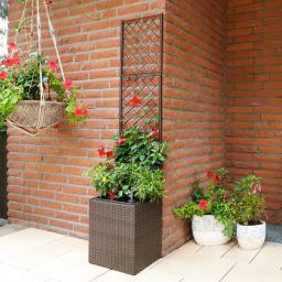 Outdoor-Rattan Pflanzkasten mit Rankgitter, quadratisch