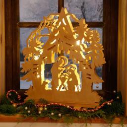 LED-Fensterleuchter Hütten-Weihnacht