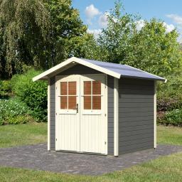 KARIBU Gartenhaus Smaland, 28 mm, grau