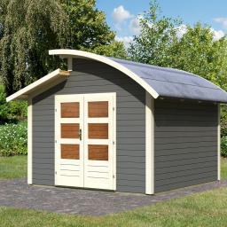 KARIBU Gartenhaus Almelo, 28 mm, grau