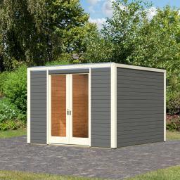 KARIBU Gartenhaus Cubus Front, terragrau