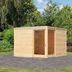 KARIBU Gartenhaus Cubus Eck 2, naturfarben, 28 mm