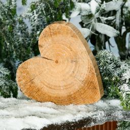 Holz-Herz Natürliche Weihnacht, groß