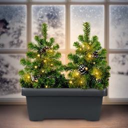 Blumenkasten mit LED-Tannenbäumen, 43x40x20 cm, Kunststoff, grau grün