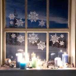3D-Fenstersticker Schneeflöckchen, Kunststofffolie, silber