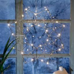 Star LED-Leuchtstern Modern Christmas, 38x38x7 cm, Metall, chrom