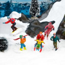 Miniatur-Winterfiguren Wintersport, 5er-Set