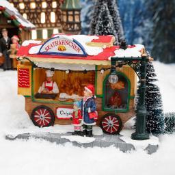 Miniatur-Weihnachtsdorf LED-Brathähnchen-Wagen