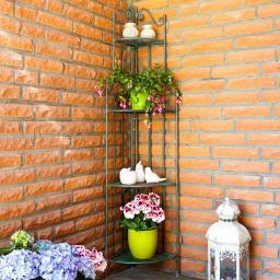 Blumen-Eckregal Florentin, grün-braun