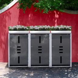 Mülltonnenbox, 3er mit Pflanzdach