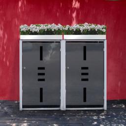 Mülltonnenbox, 2er mit Pflanzdach