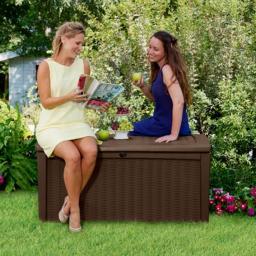 Auflagenbox Borneo zum Sitzen in Rattan- und Holzoptik