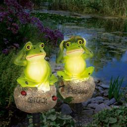 Solarleuchten Frosch 2er-Set