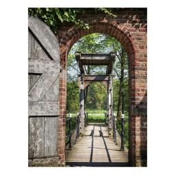 Gartengemälde Historische Brücke 140 x 79 cm