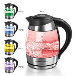 GOURMETmaxx Glas-Wasserkocher mit Temperatur-Farbcodierung