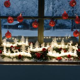 LED-Leuchtdeko Winterlandschaft, 200cm, Kunststoff, weiß