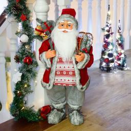 Weihnachtsmann Väterchen Frost, 60x30x25 cm, Kunststoff, grau rot