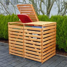 Mülltonnenbox Vario V für 2 Tonnen, honigbraun