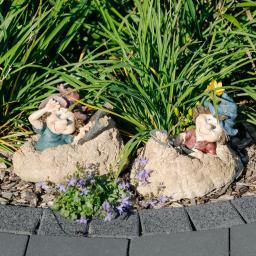 Gartenfigur Gnome Hans & Dampf, 2er-Set