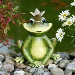 Gartenfigur Froschkönig Happy