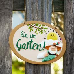 """Gärtner Pötschke Schild """"Bin im Garten"""""""