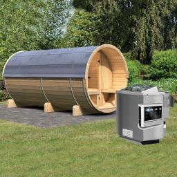 Fass-Sauna Lilja mit 9,0 kw Bio-Kombiofen, 216x216x400 cm, natur