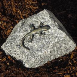 Bronzefigur Eidechse auf Granit