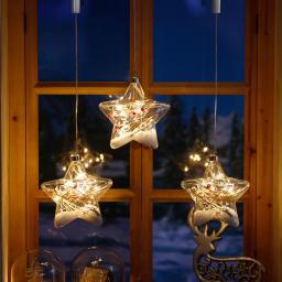 LED-Fensterdeko Schneestern, 3er-Set