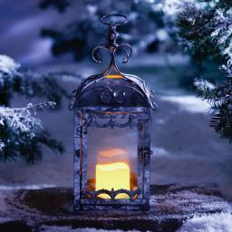 Star LED-Outdoorkerze Weihnachtszeit, 7x7 cm, Kunststoff, creme