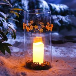 Star LED-Outdoorkerze Weihnachtszeit, 15x7 cm, Kunststoff, creme