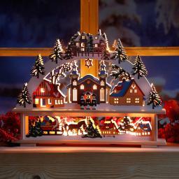 Star Fensterleuchter Winterwelt; 34x45x6 cm, Holz, bunt