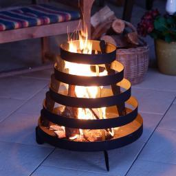 Feuerkorb Spirelli, 49,5x50x50 cm, Eisen, schwarz