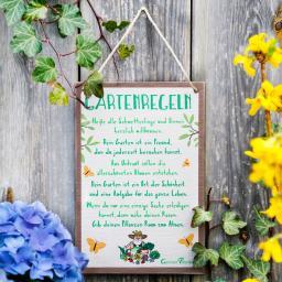 Gartenschild Gartenregeln, 24x16x1 cm, Polyresin