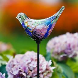 Glaskunst-Stecker Vogel Kunterbunt, 14x5,4x7,8 cm