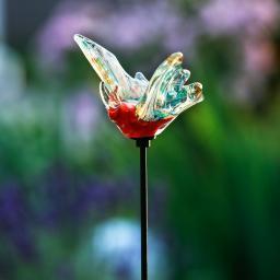 Glaskunst-Stecker Schmetterling, 9,5 x 1,5 x 14 cm, Glas, bunt