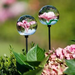 Glaskunst-Stecker pinker Blütentraum inkl. Stab, 2er-Set, 6x100 cm