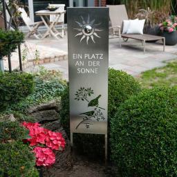 Gartenstecker Sonnenplatz, 120x5x25 cm, Edelstahl, silber